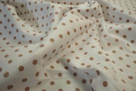 Bawełna - białe tło, beżowe kropki 7 mm
