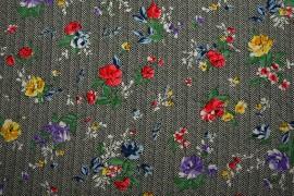 Tkanina wiskozowa - kwiaty na jodełce