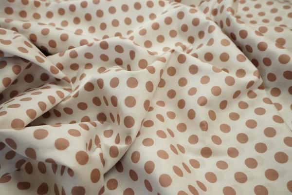 Bawełna - białe tło, beżowe kropki 1 cm