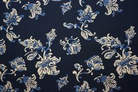 Tkanina wiskozowa - biało-granatowe kwiaty