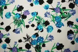 Tkanina wiskozowa - tulipany na białym tle