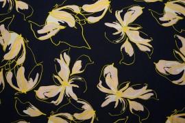 Tkanina wiskozowa - żółte kwiaty na granatowym tle