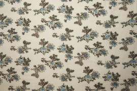 Tkanina wiskozowa - błękitne kwiaty