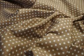Bawełna - beżowe tło, białe kropki 5 mm