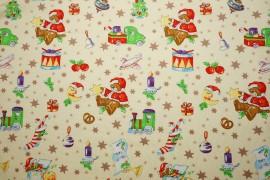 Bawełna - świąteczne misie na kremowym tle