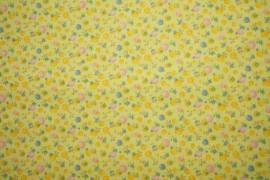 Bawełna - kwiatki na żółtym tle