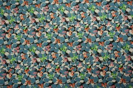 Bawełna - liście w kolorze petrol