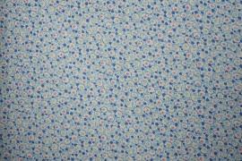 Bawełna - niebieskie kropki i kwiatki