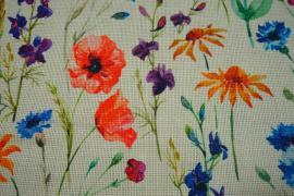Tkanina lniana - polne kwiaty