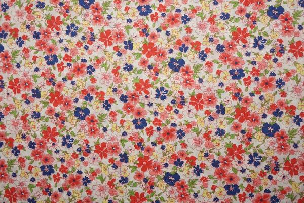Bawełna - czerwone i granatowe kwiaty