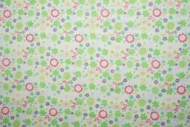 Bawełna - zielone kwiatki
