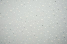 Bawełna - chmurki na błękitnym tle
