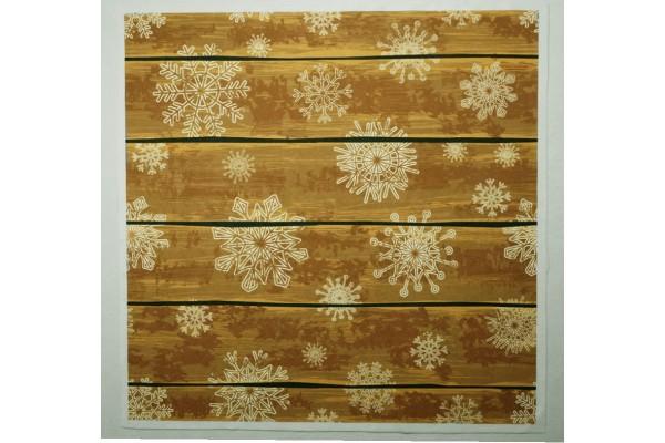 Panel poduszkowy - białe śnieżynki na deskach