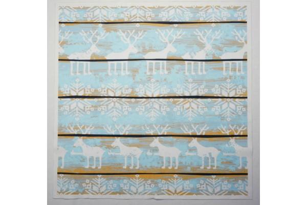 Panel poduszkowy - białe renifery i śnieżynki