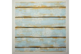 Panel poduszkowy - białe śnieżynki na błękitnym tle