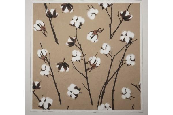 Panel poduszkowy - kwiaty bawełny na beżowym tle