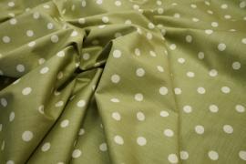 Bawełna - jasnooliwkowe tło, białe kropki 1 cm