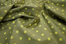 Bawełna - jasnooliwkowe tło, seledynowe kropki 1 cm