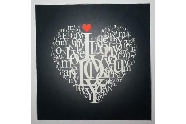 Panel poduszkowy - serce z napisów