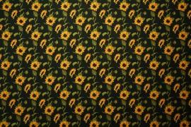 Tkanina dekoracyjna - słoneczniki na czarnym tle