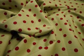 Bawełna - jasnobeżowe tło, ciemnoczerwone kropki 1 cm