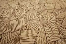 Filc drukowany - brązowo-beżowe liście