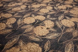 Filc drukowany - kwiaty beżowe