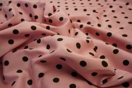 Bawełna - tło pudrowy róż, brązowe kropki 1 cm