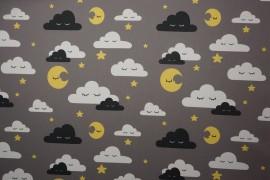Tkanina dekoracyjna - chmurki na szarym tle