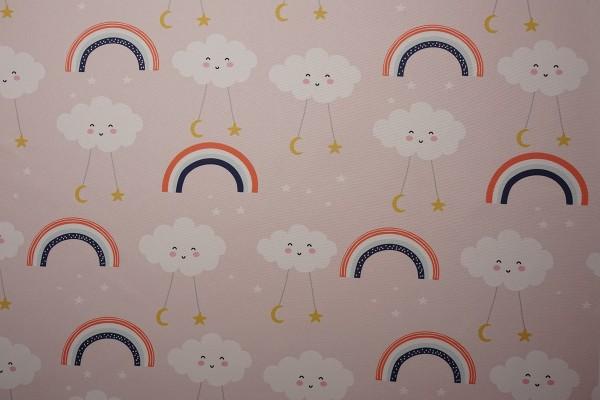 Tkanina dekoracyjna - chmurki na różowym tle