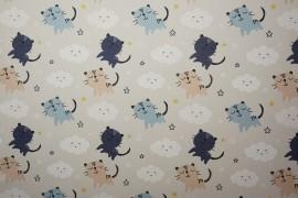 Tkanina dekoracyjna - kotki, chmurki