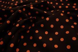 Bawełna - brązowe tło, pomarańczowe kropki 1 cm
