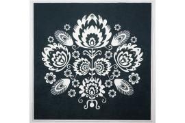 Panel poduszkowy - łowicki wzór, czarne tło