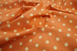 Bawełna - łososiowe tło, kropki ecru 1 cm