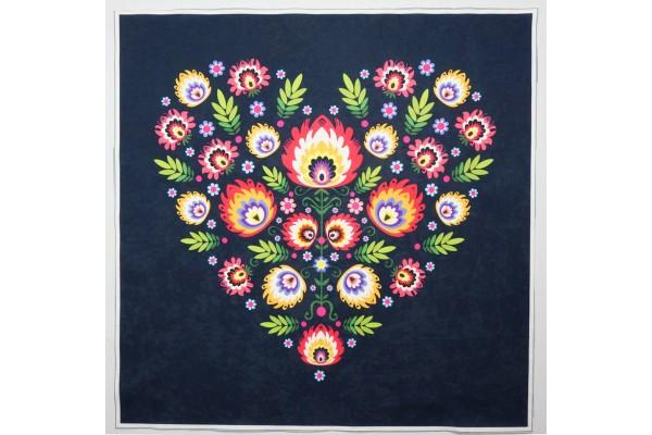 Panel poduszkowy - folkowe serce, granatowe tło