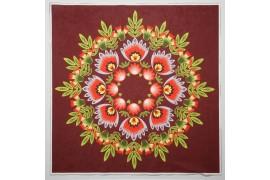 Panel poduszkowy - wianek folkowy, tło bordowe