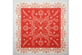 Panel poduszkowy - wzór folkowy, czerwono-kremowy