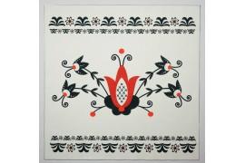 Panel poduszkowy - wzór folkowy, czerwono-czarny