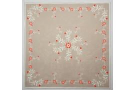 Panel poduszkowy - czerwone kwiatki na beżowym tle