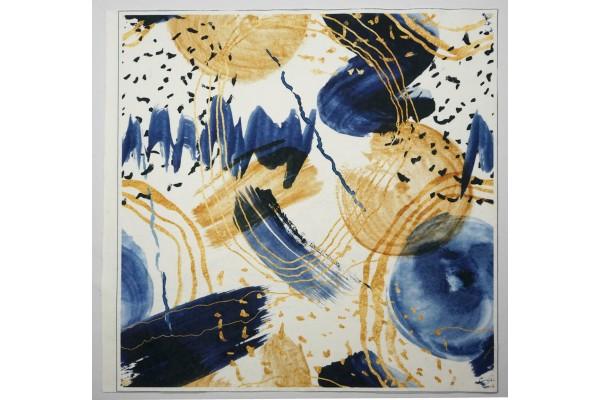 Panel poduszkowy - wzór malowany farbą, granatowo-złoty