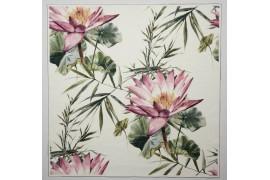 Panel poduszkowy - tropikalne kwiaty na białym tle