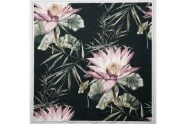 Panel poduszkowy - tropikalne kwiaty na czarnym tle