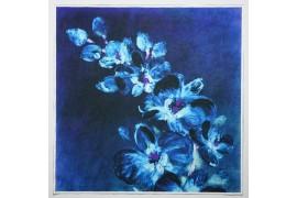 Panel poduszkowy - akwarelowe, niebieskie kwiaty
