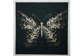 Panel poduszkowy - beżowy motyl, czarne tło