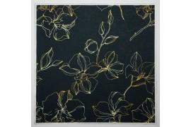 Panel poduszkowy - złote kwiaty na czarnym tle