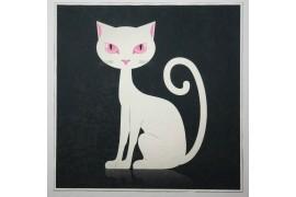 Panel poduszkowy - kot na czarnym tle