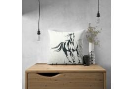 Panel poduszkowy - czarny koń na szarym tle