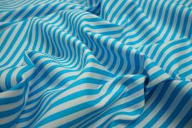 Bawełna - turkusowo-białe paski 5 mm