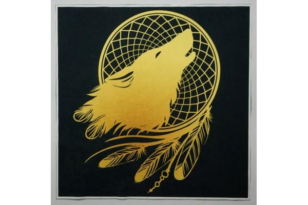 Panel poduszkowy - złoty wilk na czarnym tle