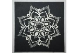 Panel poduszkowy - biała rozeta na czarnym tle